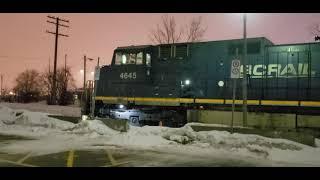 NIGHT TRAINS BC Rail And CN C44-9Ws Idle At Dorval
