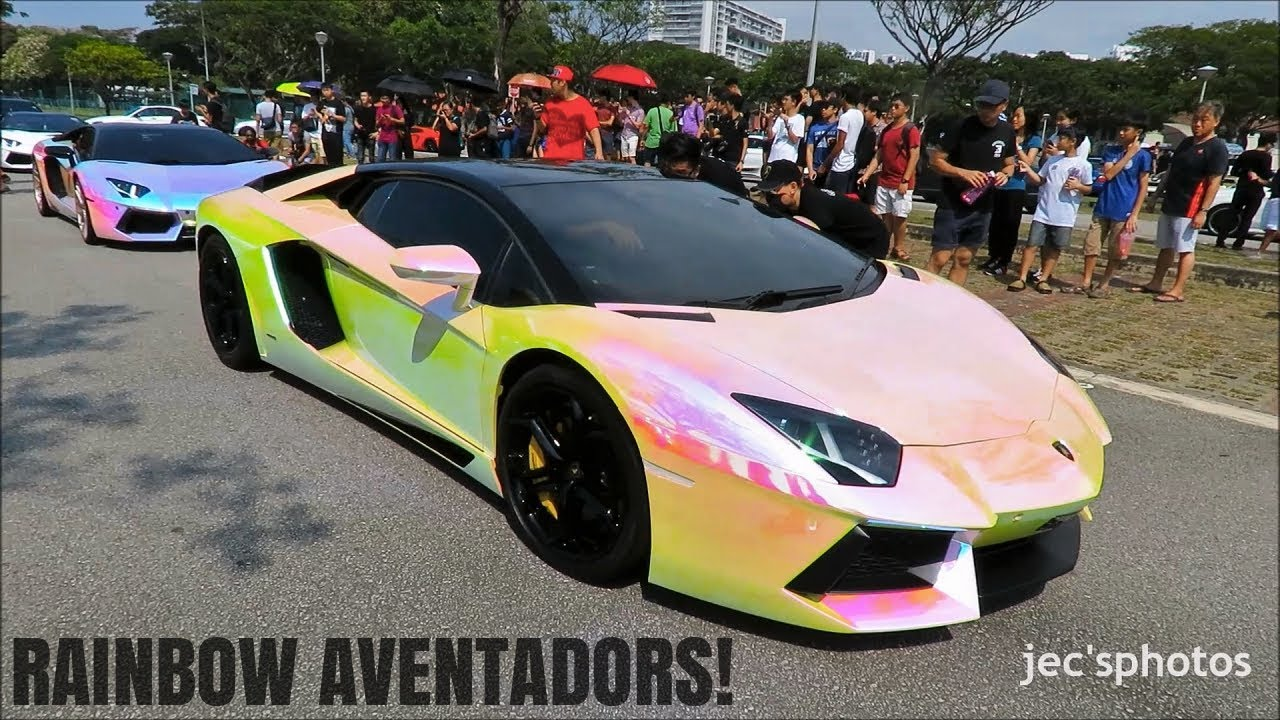 Two Rainbow Chrome Lamborghini Aventadors Loudly Departing A Meet