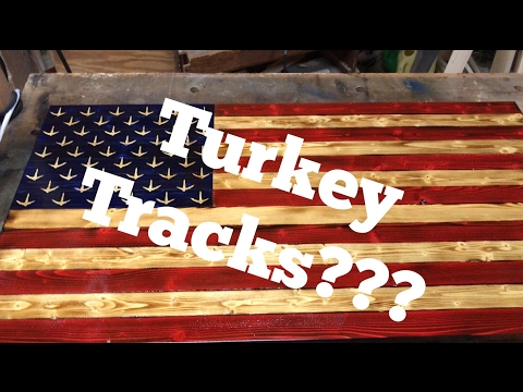 Stars Replaced With Turkey Tracks? / Rustic American Flag