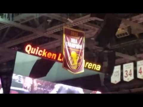 Cleveland Cavaliers raise the banner at Quicken Loans Arena as celebrates his roots