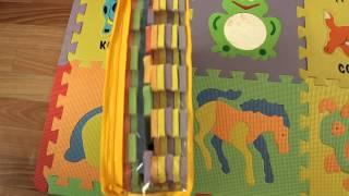 коврик пазл развивающий  музыкальные животные, мягкий пол для детей.