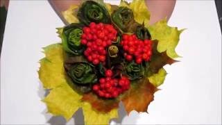 Розы из кленовых листьев. Осенние поделки из природных материалов в детский сад или школу.