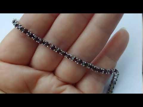Браслет родолит гранат натуральный серебро 925