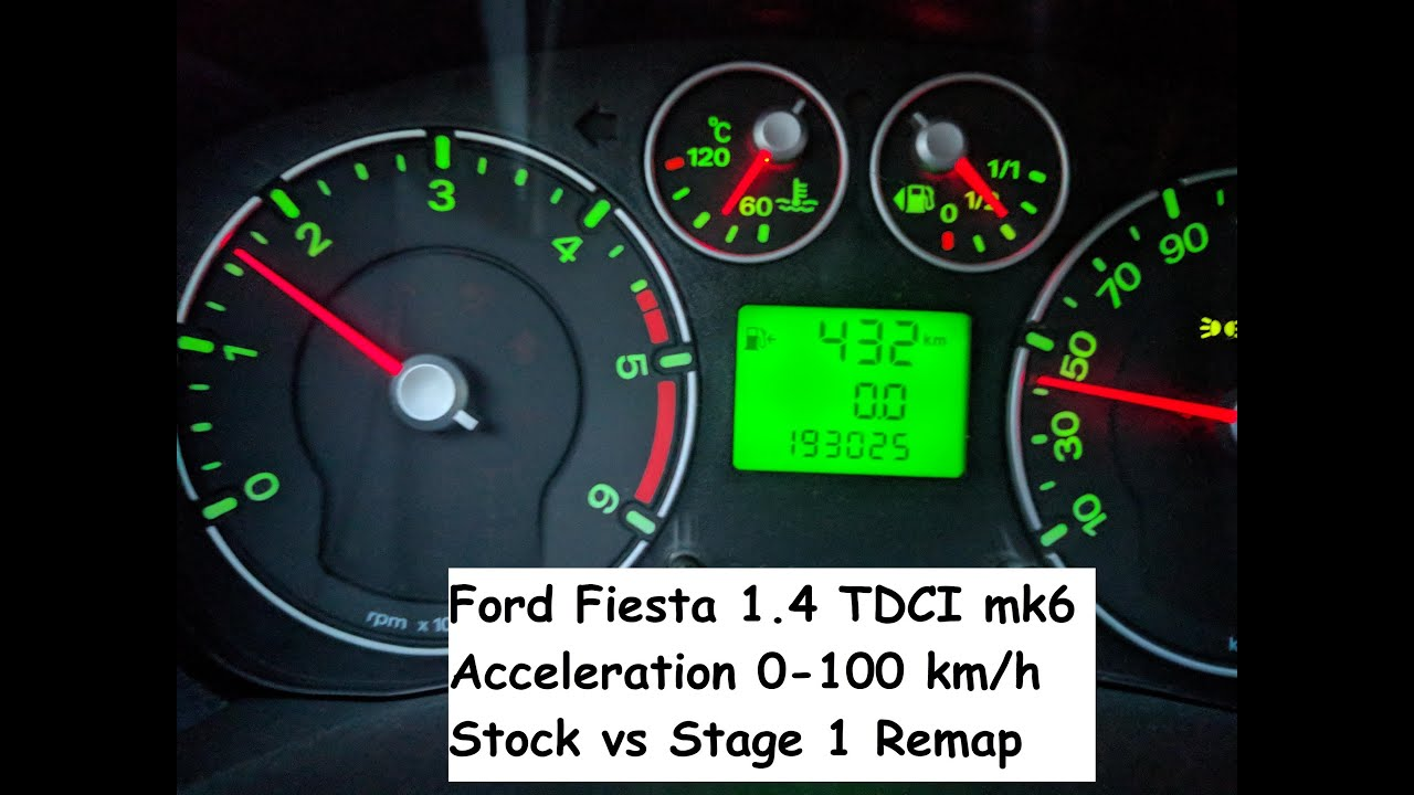 Ford Fiesta 1.4 TDCI (MK6) 0-100 Km/h Acceleration - Stock vs Stage 1 Remap
