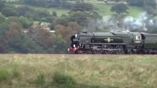 35028 Clan Line with VSOE steam train at Newton St  Loe, Bath