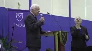 President Jimmy Carter speaks to Emory freshmen