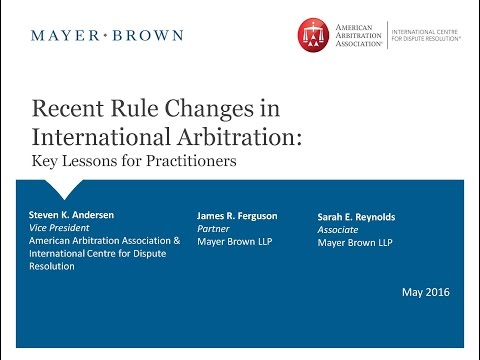 Webinar: Rules Changes in International Arbitration