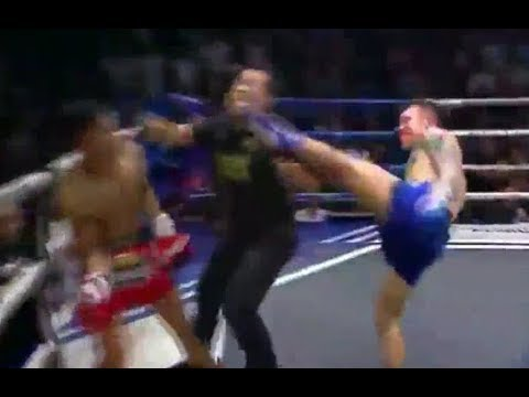 Dan Joyce - Muay Thai Fighter Knocks Out Opponent AND Ref!