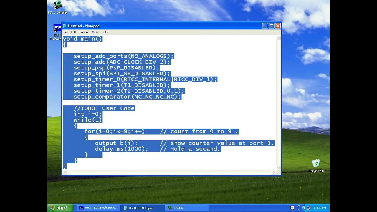 Pic C Compiler Simple Example Youtube