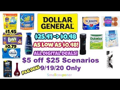 Dollar General $5 Off $25 Scenarios 9/19/20! All Digital Deals!