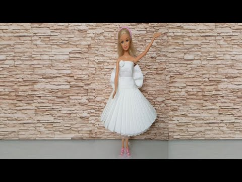 DIY HOW TO MAKE BARBIE DRESS OUT OF TOILET PAPER | BARBIE DOLL DISPOSABLE DRESS| BARBIE DOLL FASHION