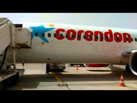 Banjul Int. Airport.  Boarding Corendon Boeing B737-800. Africa. HD