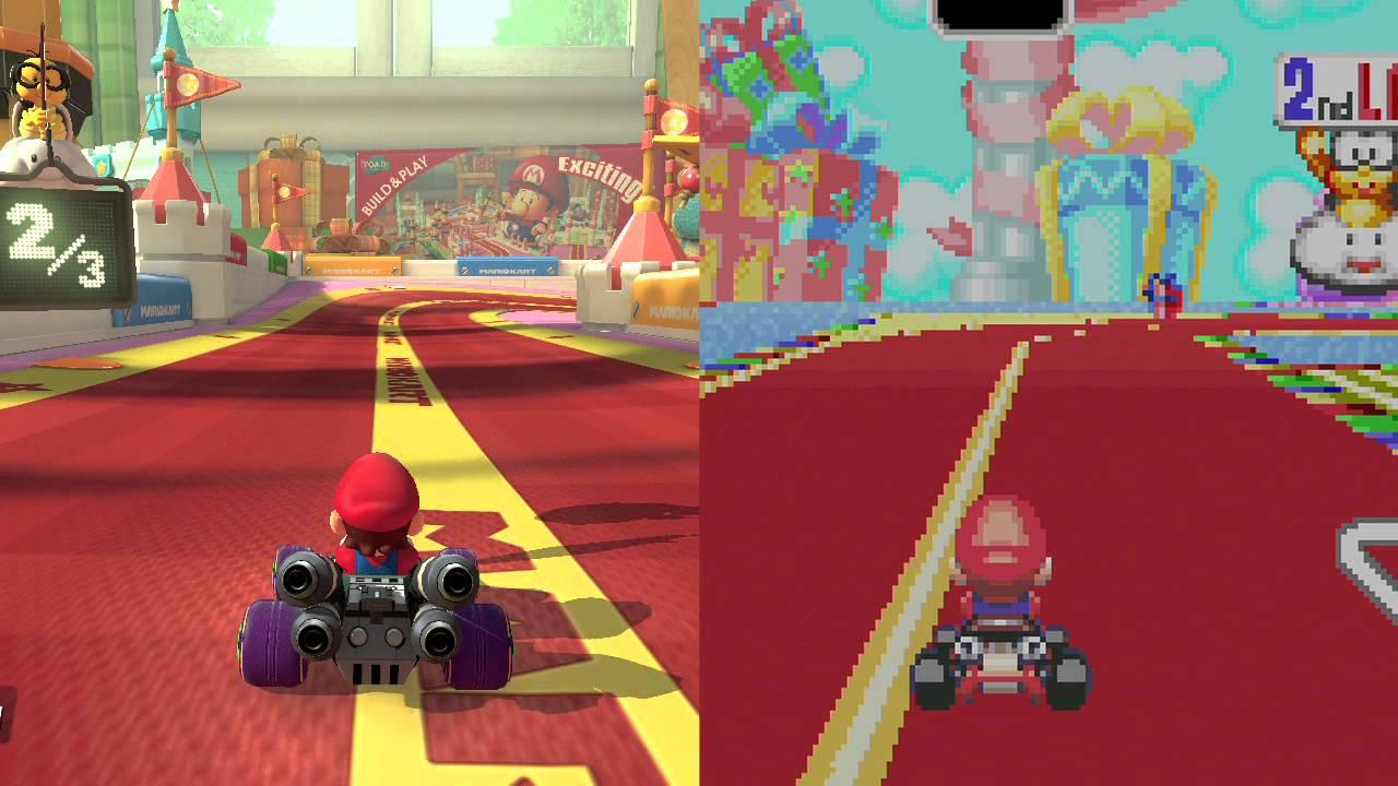 Mario Kart 8 Ribbon Road Wii U Vs Gba Youtube