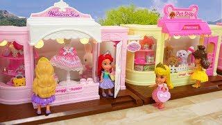 Mini Disney Princess Shopping Street Bridal Shop Pet Shop مصغرة دمية لعبة Mini Loja de Bonecas