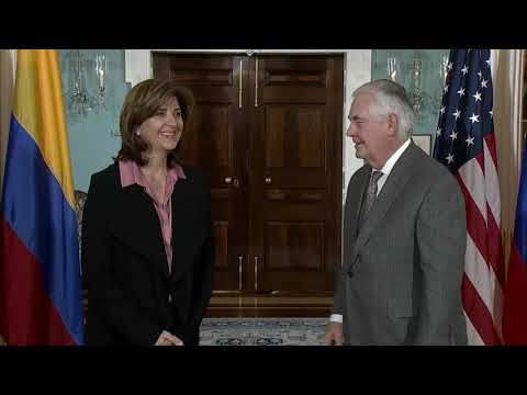 U.S. Secretary of State Tillerson Camera Spray With Minister of Foreign Relations, Republic,Colombia