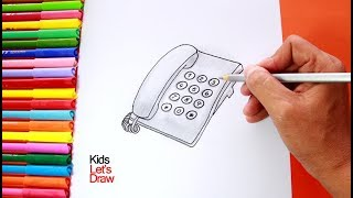 Cómo dibujar un Teléfono Fijo de Teclas (paso a paso) | How to draw a Key Phone