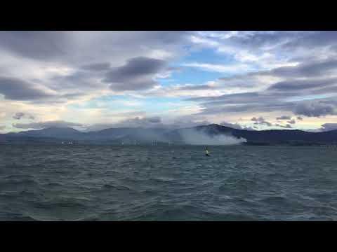Incendio visto desde la Bahía de Santander