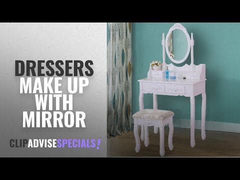 Top 10 Dressers Make Up With Mirror [2018]: Vanimeu, Vanity Wood Jewelry Makeup Dressing Table with