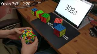2x2-7x7 Rubik's Cube Relay: 5:22.10 (Unofficial World Record)