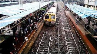 Mumbai Local Train Railway Looks In Monsoon Rainy Season at Andheri Station India 2014 [HD VIDEO]