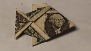 Dollar Bill Origami Fish Tutorial - How to make an Easy Angelfish from Money - $1 Dollar Moneygami