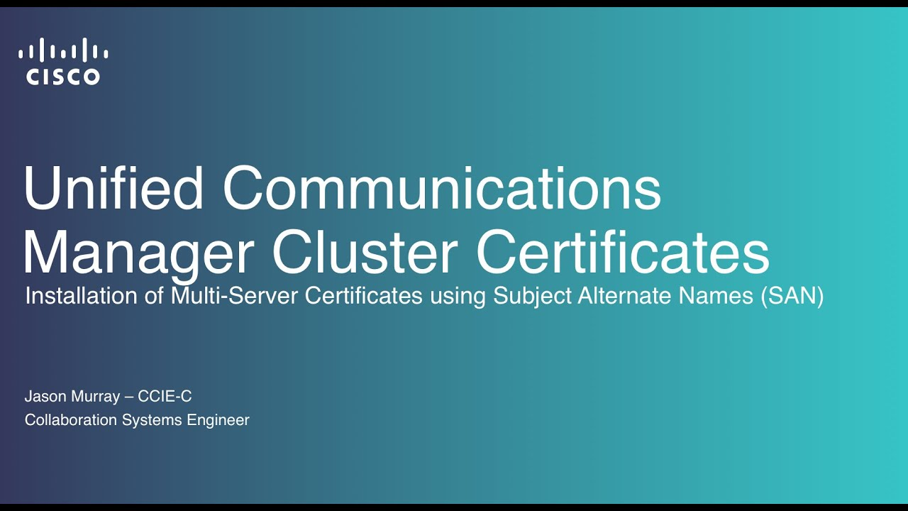 Unified Communications Manager Cluster Certificates