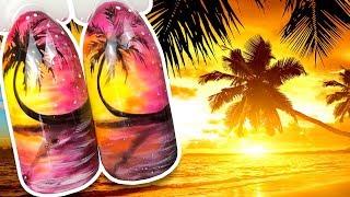 🌴 Закат на Пляже 🌴 Летний Пейзаж с Пальмой / Простой Дизайн Ногтей Гель лаком к Маникюру в Отпуск