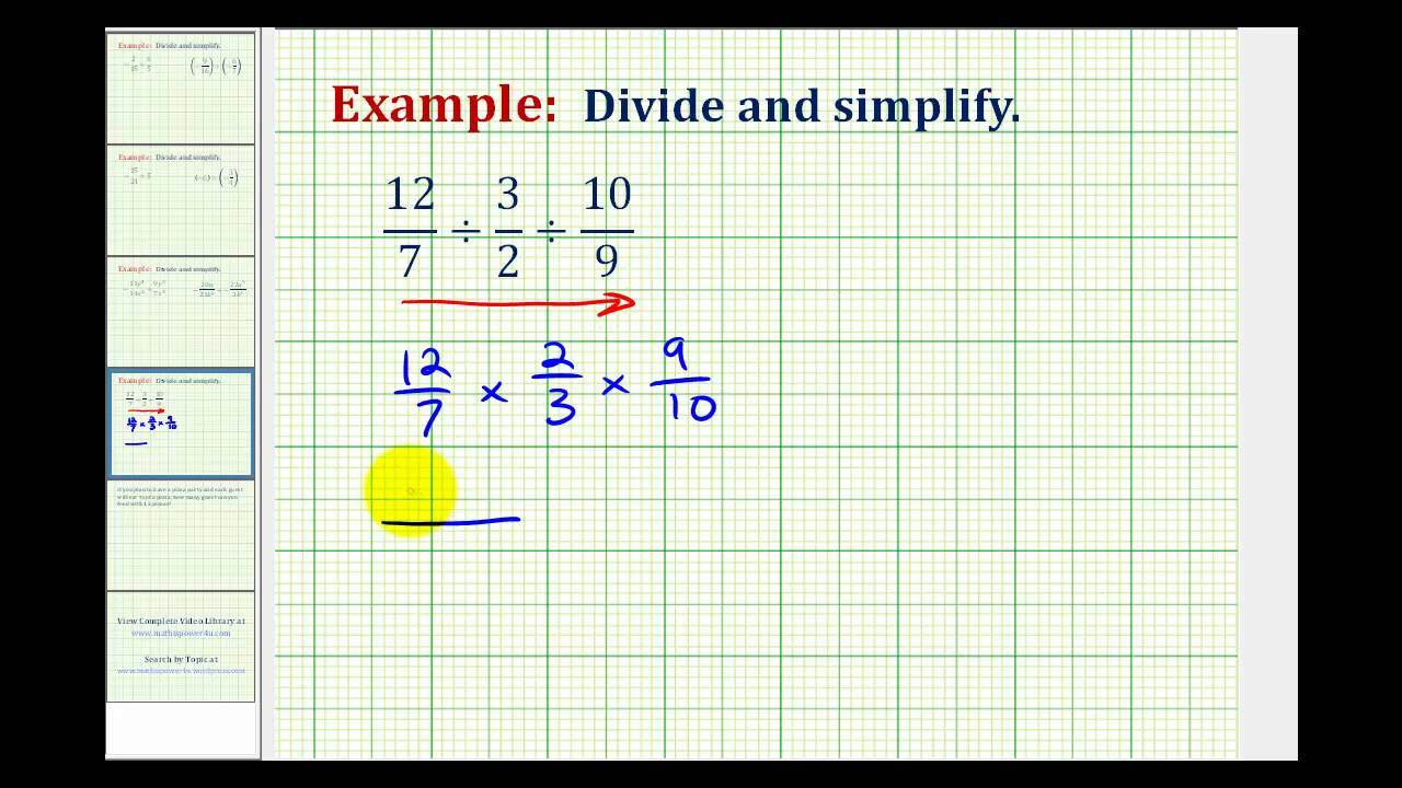 Worksheet Dividing 3 Fractions ex division involving three fractions youtube fractions