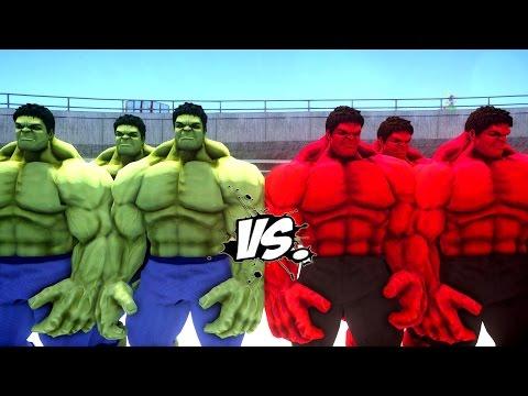 GREEN HULK ARMY VS RED HULK ARMY - EPIC BATTLE THE HULK