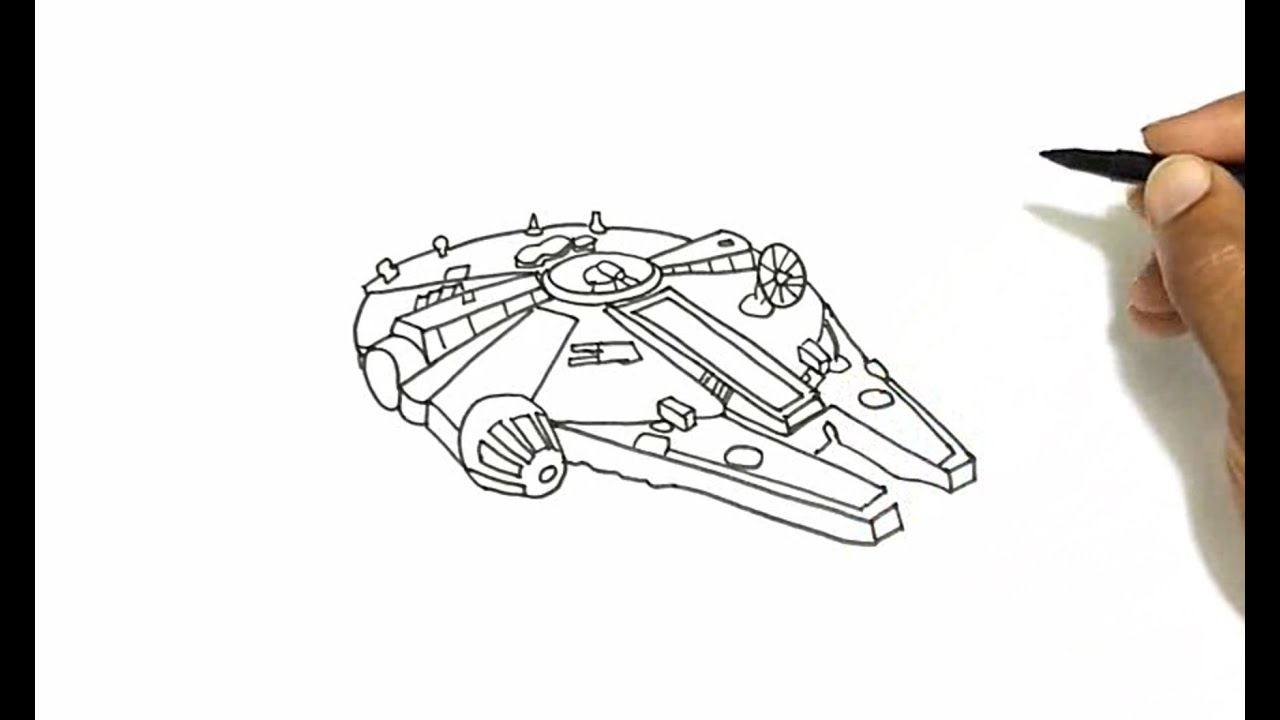 Good How To Draw The Millennium Falcon From Star Wars   YouTube