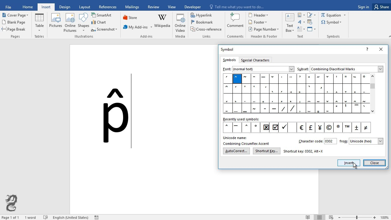 How To Type P Hat In Word Youtube