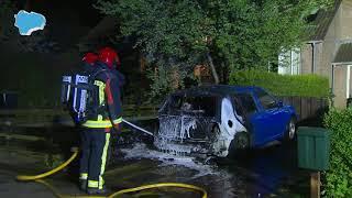 Felle brand verwoest geparkeerde auto in Beerta