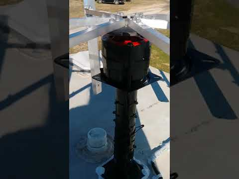 Homemade vertical axis wind turbine on an RV