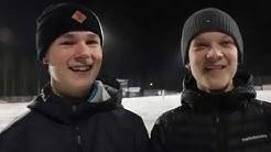 Valtteri Nurmilinna ja Tuomas Tahvanainen haastattelussa, edessä P15-maajoukkueleiri