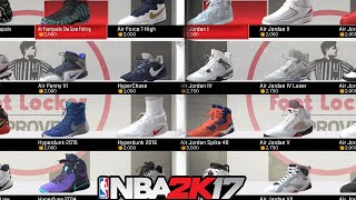 NBA 2K17 All The Shoes! ⋆#NBA2K17⋆Every Shoe In The Game ???????? (Jordans, Nikes, Adidas, & More!)