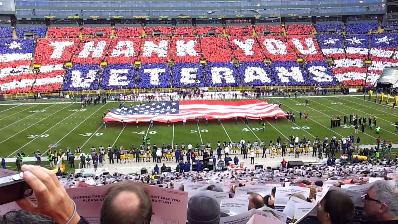 lambeau field card stunt thank you veterans 11 04 12