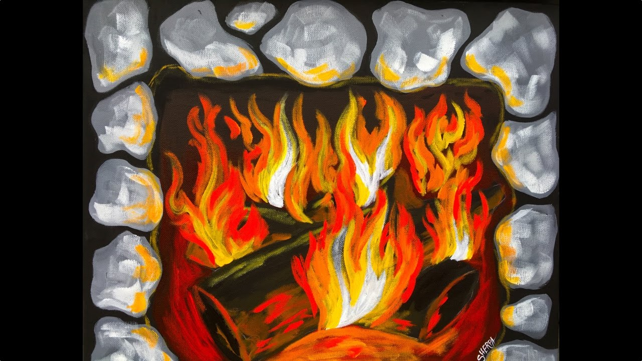How to paint Fire and a FIREPLACE Beginner Acrylic ...