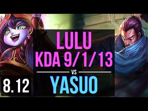LULU vs YASUO (MID) ~ KDA 9/1/13, Unstoppable ~ Korea Master ~ Patch 8.12