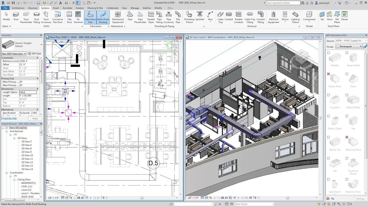 What's New in Revit MEP 2018 for Detailing MEP Fabrication Networks