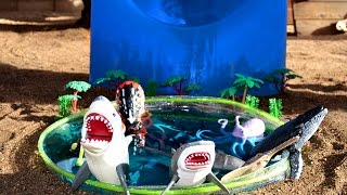 Learn Names Of Sea Animals With Shark Toys In Water Pool & Kids Park Slide