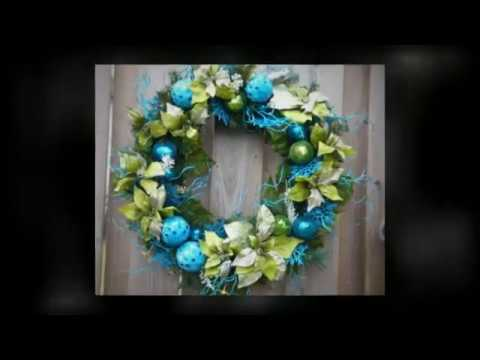 blue and lime green christmas wreath - Lime Green And Blue Christmas Decorations