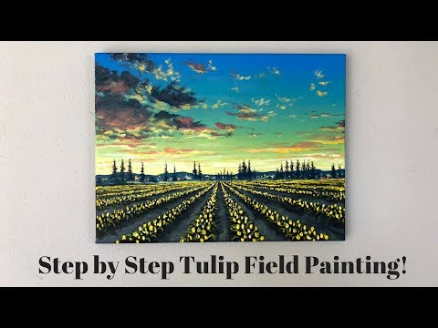 ColorbyFeliks: Field of Tulips Step by Step Painting Tutorial