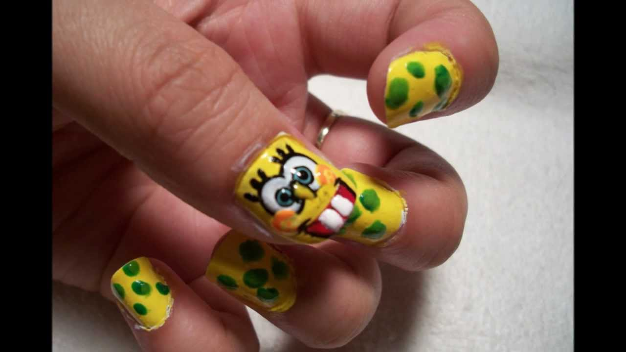 Spongebob squarepants nail art design youtube prinsesfo Image collections