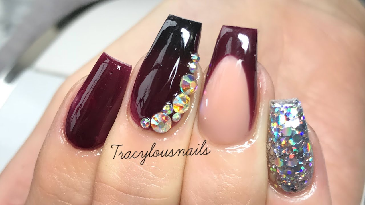 Deep Burgundy Redesign Acrylic Nails Youtube