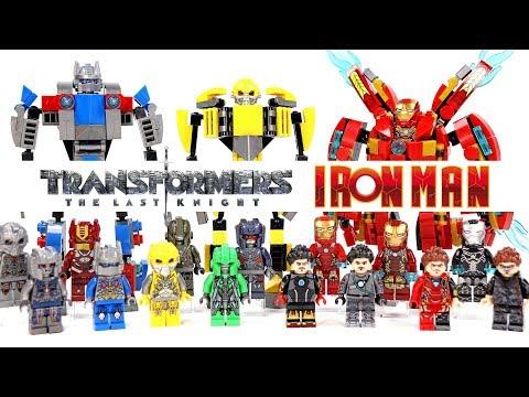 Transformers Iron Man Optimus Prime Bumblebee Megatron Mini Mechs Unofficial LEGO Minifigures