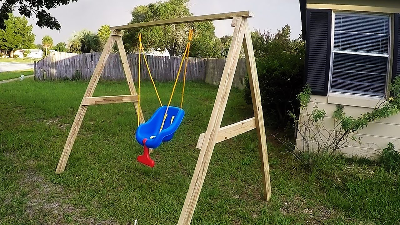 Diy easy cheap 2x4 kids swing ideal for ages 0 5 youtube for Easy porch swing
