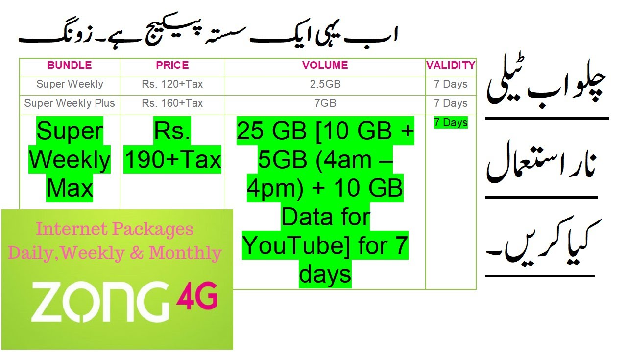 Zong Weekly Package Internet 2019 And 25gb Zong Internet Packages Weekly Youtube