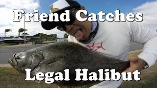 Friend catching Halibut from shore - Harbor Island, San Diego