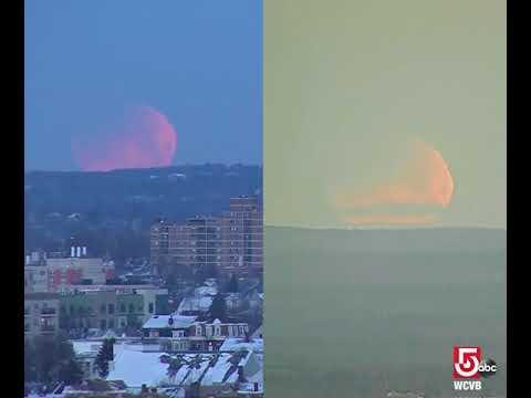 Super blue blood moon setting over Massachusetts