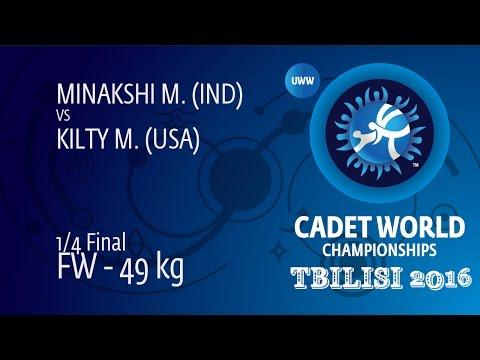1/4 FW - 49 kg: M. KILTY (USA) df. M. MINAKSHI (IND) by FALL, 8-2